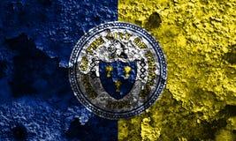Bandiera del fumo della città di Trenton, stato del New Jersey, Stati Uniti di Amer Fotografie Stock