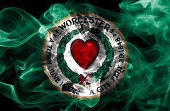 Bandiera del fumo della città di Worcester, stato di Massachusetts, Stati Uniti di Fotografia Stock