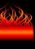 Bandiera del fuoco con le fiamme Fotografia Stock Libera da Diritti