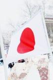 Bandiera del Giappone su vento all'inverno Fotografia Stock