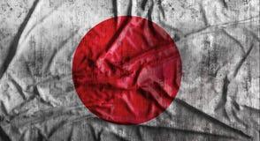 Bandiera del giapponese sgualcita lerciume rappresentazione 3d Fotografia Stock Libera da Diritti