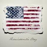 Bandiera del giorno di presidenti del testo e degli Stati Uniti Immagini Stock