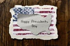Bandiera del giorno di presidenti del testo e degli Stati Uniti Immagine Stock Libera da Diritti