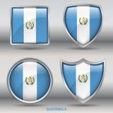 Bandiera del Guatemala in una raccolta di 4 forme con il percorso di ritaglio Immagine Stock Libera da Diritti