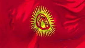 89 Bandiera del Kirghizistan che ondeggia nel fondo senza cuciture continuo del ciclo del vento video d archivio