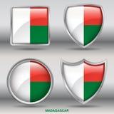 Bandiera del Madagascar in una raccolta di 4 forme con il percorso di ritaglio Immagine Stock Libera da Diritti