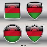 Bandiera del Malawi in una raccolta di 4 forme con il percorso di ritaglio Immagini Stock