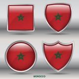 Bandiera del Marocco in una raccolta di 4 forme con il percorso di ritaglio Fotografia Stock Libera da Diritti