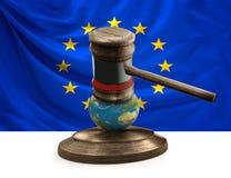 Bandiera del martelletto del giudice del globo 3D-illustration della mappa di mondo di Europa Fotografia Stock