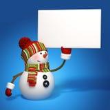 Bandiera del messaggio della holding del pupazzo di neve Fotografia Stock Libera da Diritti
