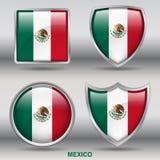 Bandiera del Messico in una raccolta di 4 forme con il percorso di ritaglio Fotografie Stock