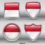 Bandiera del Monaco in una raccolta di 4 forme con il percorso di ritaglio Immagine Stock