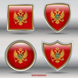 Bandiera del Montenegro in una raccolta di 4 forme con il percorso di ritaglio Immagine Stock Libera da Diritti
