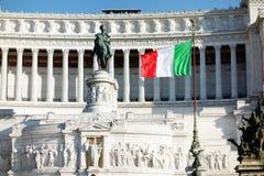 Bandiera del monumento di Altare Patria Italia di patria dell'altare Fotografia Stock