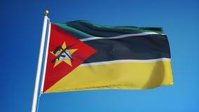 Bandiera del Mozambico al rallentatore senza cuciture avvolta con l'alfa archivi video
