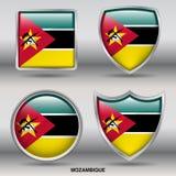 Bandiera del Mozambico in una raccolta di 4 forme con il percorso di ritaglio Fotografia Stock Libera da Diritti