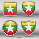 Bandiera del Myanmar in una raccolta di 4 forme con il percorso di ritaglio Fotografie Stock Libere da Diritti