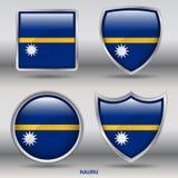 Bandiera del Nauru in una raccolta di 4 forme con il percorso di ritaglio Immagini Stock