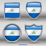Bandiera del Nicaragua in una raccolta di 4 forme con il percorso di ritaglio Fotografie Stock