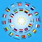 bandiera 28 del paese dell'Unione Europea Fotografia Stock
