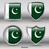 Bandiera del Pakistan in una raccolta di 4 forme con il percorso di ritaglio Immagini Stock Libere da Diritti