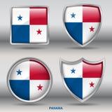 Bandiera del Panama in una raccolta di 4 forme con il percorso di ritaglio Fotografia Stock Libera da Diritti