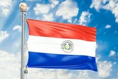 Bandiera del Paraguay che ondeggia in cielo nuvoloso blu, rappresentazione 3D Fotografia Stock Libera da Diritti
