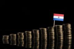 Bandiera del Paraguay con il lotto delle monete sul nero Fotografia Stock