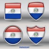 Bandiera del Paraguay in una raccolta di 4 forme con il percorso di ritaglio Immagini Stock Libere da Diritti