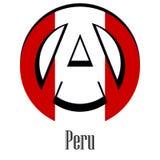 Bandiera del Perù del mondo sotto forma di segno dell'anarchia royalty illustrazione gratis