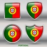 Bandiera del Portogallo in una raccolta di 4 forme con il percorso di ritaglio Immagine Stock Libera da Diritti