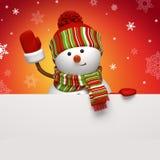 Bandiera del pupazzo di neve su colore rosso Immagine Stock Libera da Diritti