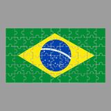 Bandiera del puzzle del Brasile su fondo grigio illustrazione vettoriale