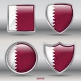 Bandiera del Qatar in una raccolta di 4 forme con il percorso di ritaglio Fotografia Stock Libera da Diritti