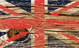 Bandiera del Regno Unito di Gran Bretagna e Irlanda del Nord su fondo di legno Immagini Stock Libere da Diritti