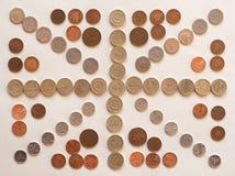 Bandiera del Regno Unito Regno Unito aka Union Jack fatto con le monete Fotografia Stock