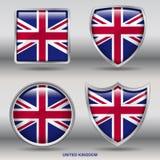 Bandiera del Regno Unito in una raccolta di 4 forme con il percorso di ritaglio Immagini Stock Libere da Diritti