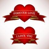 Bandiera del rotolo del nastro del cuore di amore del biglietto di S. Valentino Immagine Stock Libera da Diritti