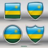 Bandiera del Ruanda in una raccolta di 4 forme con il percorso di ritaglio Fotografie Stock Libere da Diritti