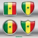 Bandiera del Senegal in una raccolta di 4 forme con il percorso di ritaglio Fotografia Stock Libera da Diritti