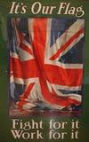 Bandiera del sindacato sul primo manifesto di guerra mondiale Immagine Stock Libera da Diritti