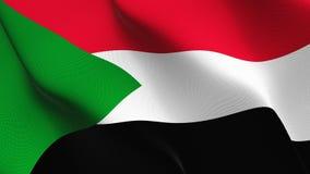 Bandiera del Sudan che ondeggia sul vento illustrazione vettoriale