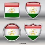 Bandiera del Tagikistan in una raccolta di 4 forme con il percorso di ritaglio Fotografia Stock