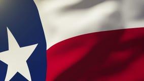 Bandiera del Texas che ondeggia nel vento Aumenti di ciclaggio del sole stock footage