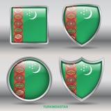 Bandiera del Turkmenistan in una raccolta di 4 forme con il percorso di ritaglio Fotografia Stock Libera da Diritti
