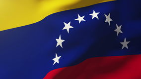 Bandiera del Venezuela che ondeggia nel vento Sole di ciclaggio stock footage