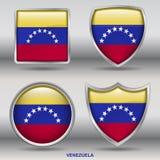 Bandiera del Venezuela in una raccolta di 4 forme con il percorso di ritaglio Fotografia Stock Libera da Diritti