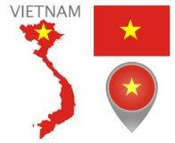 Bandiera del Vietnam, mappa e puntatore della mappa illustrazione vettoriale