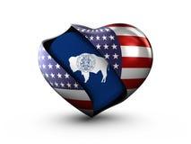 Bandiera del Wyoming dello stato di U.S.A. su fondo bianco Immagini Stock Libere da Diritti