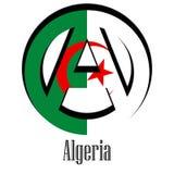 Bandiera dell'Algeria del mondo sotto forma di segno dell'anarchia royalty illustrazione gratis